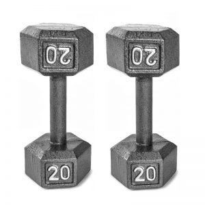 cast iron hex dumbbell