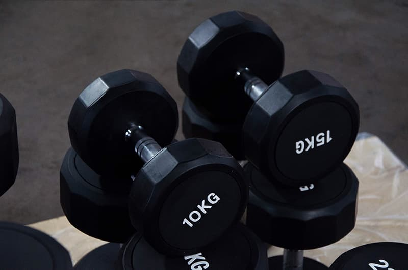 12 sided rubber coated dumbbells