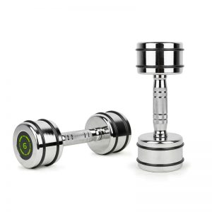 chrome dumbbells with rubber ring